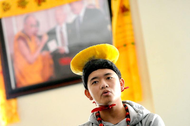 Tenzin Yeshi Paichang, 20,  during practice with the Tibetan American Foundation Minnesota performers on Sunday, Feb., 23, 2104 in St. Paul. (Pioneer Press: Sherri LaRose-Chiglo_