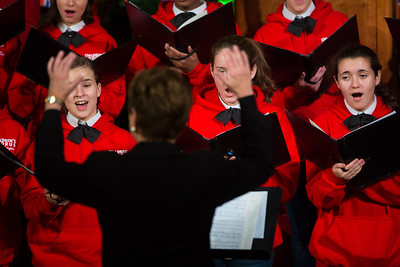The Children's Chorus of Washington sings Christmas carols at tree lighting ceremony at Union Station on Dec 4, 2012.