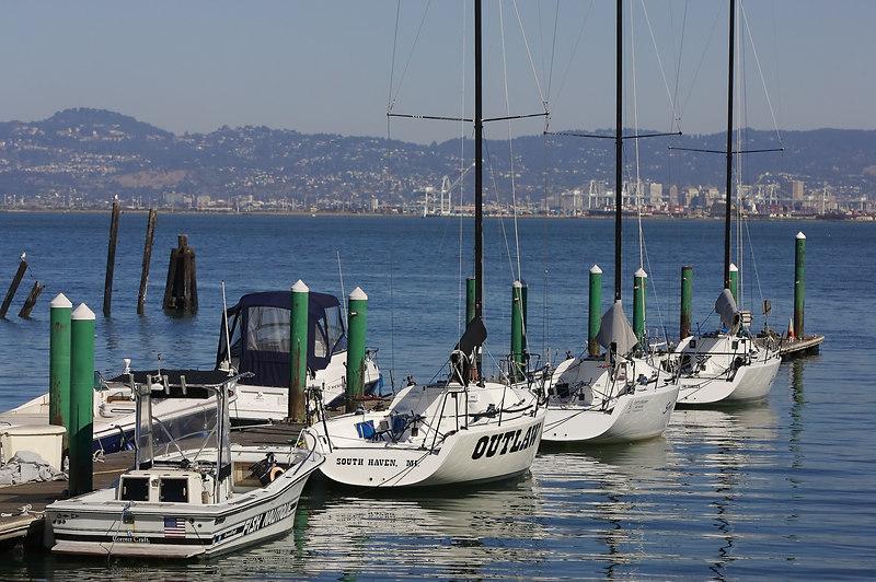Boats along Pier 40