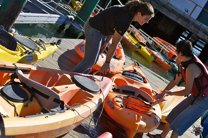 Getting the kayaks ready