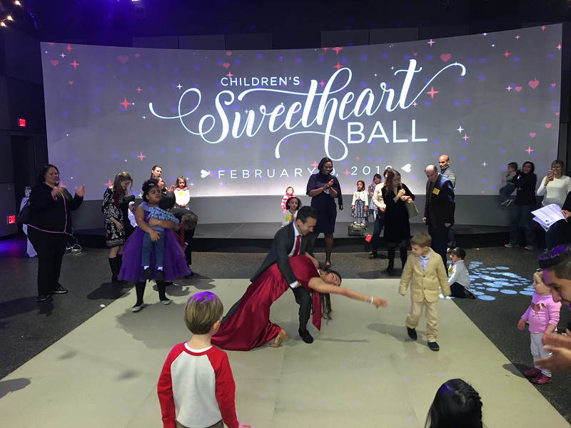 Erik Novoa and Christina Dufour teaching partner dance at the Sweetheart Ball at the Stepping Stones Museum in Norwalk, CT
