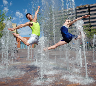 Portrait of dancers in the fountain at Boise Center on the Grove. Photo by Mike Reid.