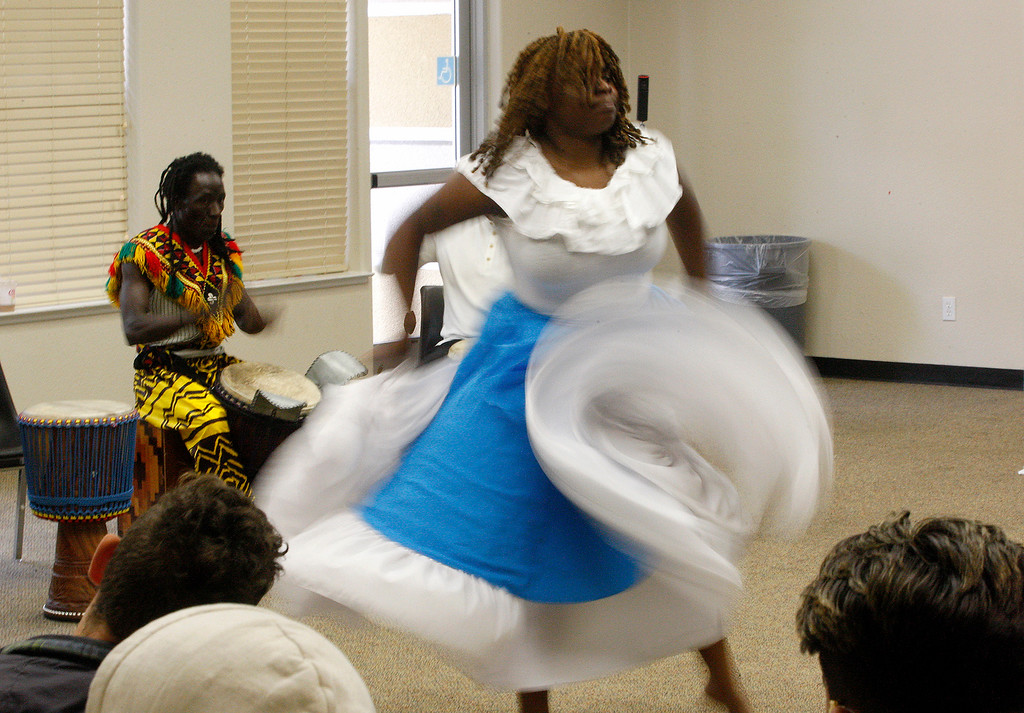 . Ebonie Barnett performs a Haitian Folkloric dance with the Dancing Souls, Global Dance Rhythms performace for Central Coast High School students on Wednesday, September 19, 2018.  (Vern Fisher - Monterey Herald)