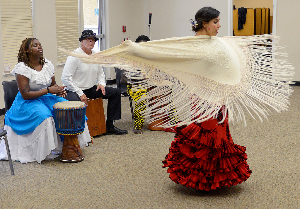 . Kristelle Monterrosa (right) performs a flamenco dance with the Dancing Souls, Global Dance Rhythms performace for Central Coast High School students in Seaside on Wednesday, September 19, 2018.  (Vern Fisher - Monterey Herald)