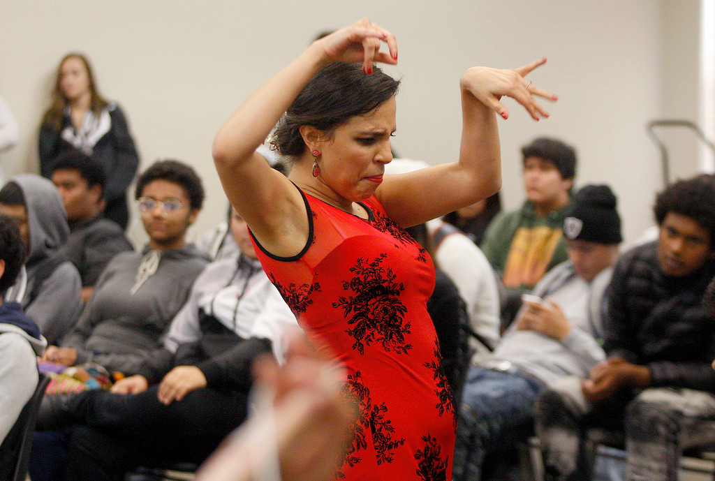 . Kristelle Monterrosa performs a flamenco dance with the Dancing Souls, Global Dance Rhythms performance for Central Coast High School students in Seaside on Wednesday, September 19, 2018.  (Vern Fisher - Monterey Herald)