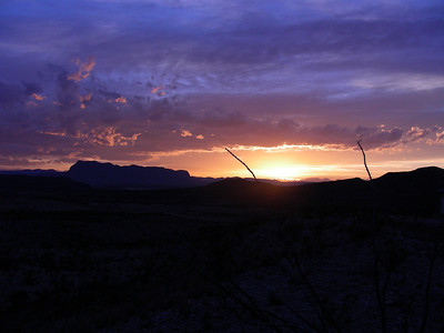 Sunset along the road heading down to Terlingua, TX-118  | 3/7/2010