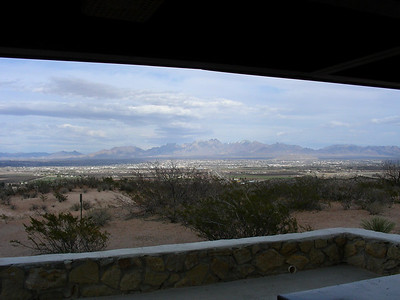 View of Las Cruces and the Organ Mountains from the I-10 rest stop West of Las Cruces, New Mexico | E | 3/06/2010