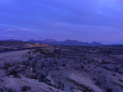 Dusk view of Chisos Mountains (Big Bend N.P.) from along the road heading down to Terlingua, TX-118  | 3/7/2010