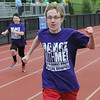 John Strickler - Digital First Media<br /> Daniel Boone student Justin Reeder crosses the finish line taking first place in his heat of the 100 meters during the Special Olympic games held Monday at the high school stadium.