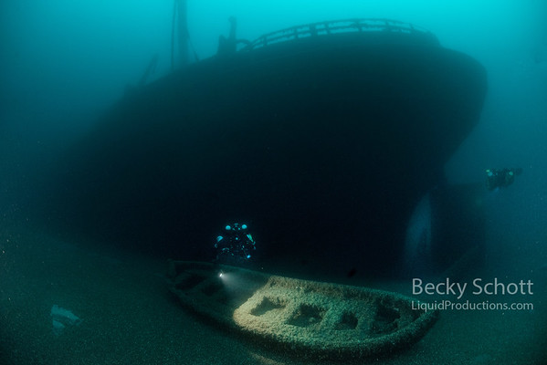 Stern of the Daniel J Morrell with ghostly  life boat