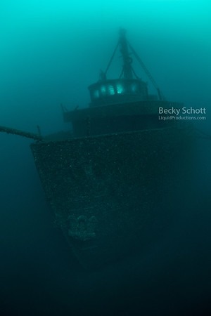 Bow of the freighter Daniel J Morrell - no diver