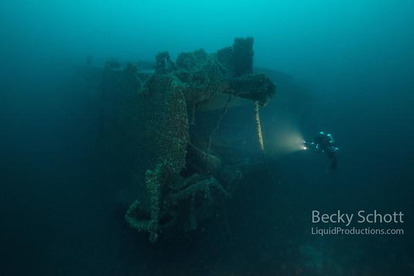 Mangled steel where the ship ripped apart in fierce seas