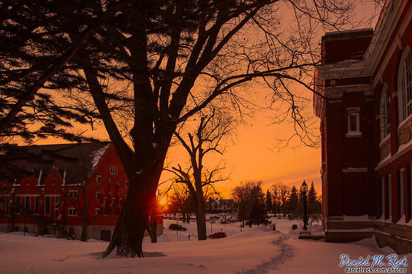 Snowy Sunset at Monmouth College