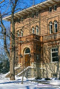 Snowy Swift Hall at Northwestern