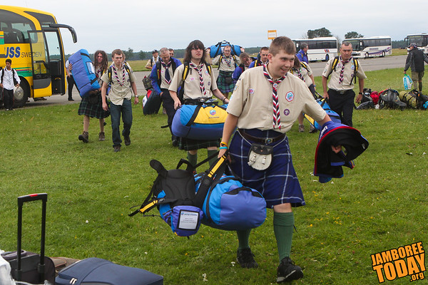 Kilt-clad Scottish Scouts arrive at 2011 World Scout Jamboree
