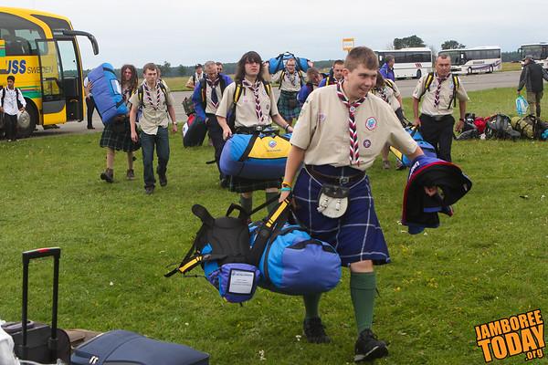 Kilt-clad Scottish Scouts arrive at 2011 World Scout Jamboree