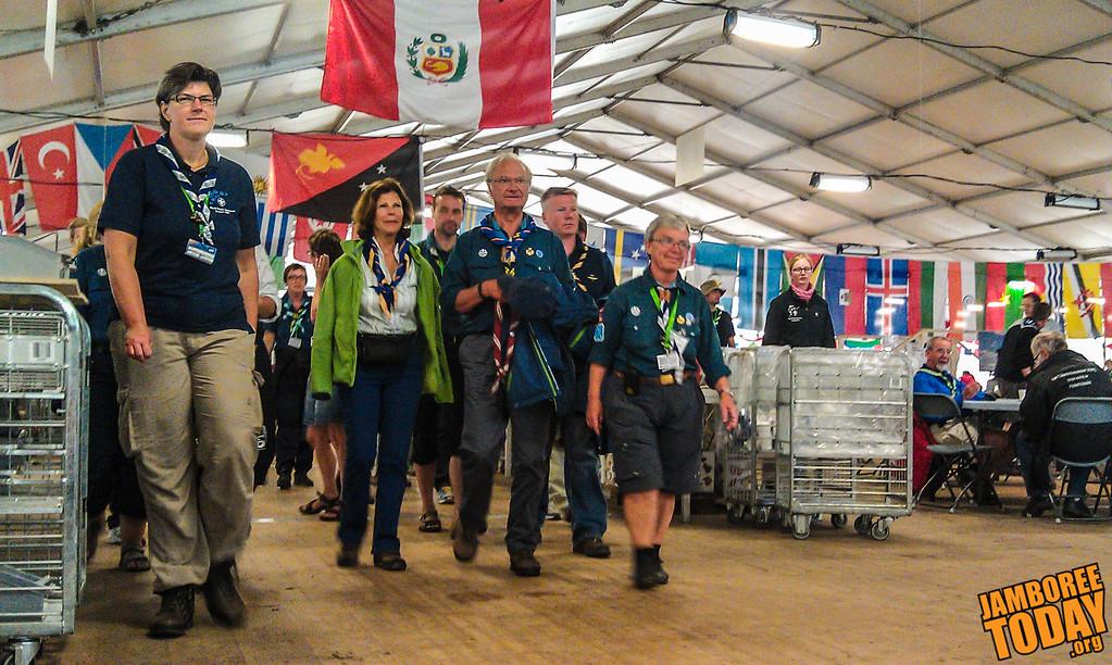 Swedish King Gustaf Camps at the World Jamboree
