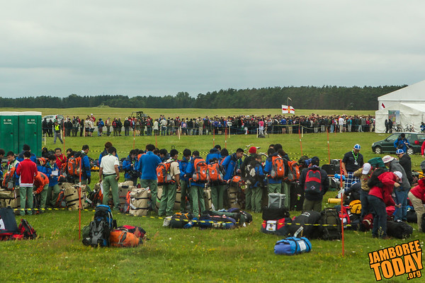 Scouts queue to check in at the World Scout Jamboree 2011