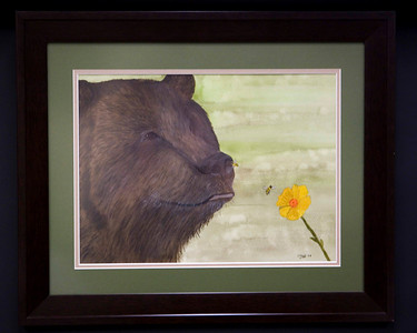 SNIFFING DISASTER: Original Water Color by Dan Pesznecker. SALE PRICE. 375.00 DOLLARS. 16 X 20 FRAMED.