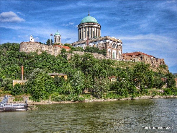 Basilca and Fortress in Esztergom, Hungary, along the Danube River.