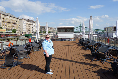 Tabitha on the sundeck of our ship, the Viking Atla.