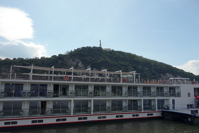Our ship, the Viking Atla.  The Liberty Statue on Gallery Hill behind.