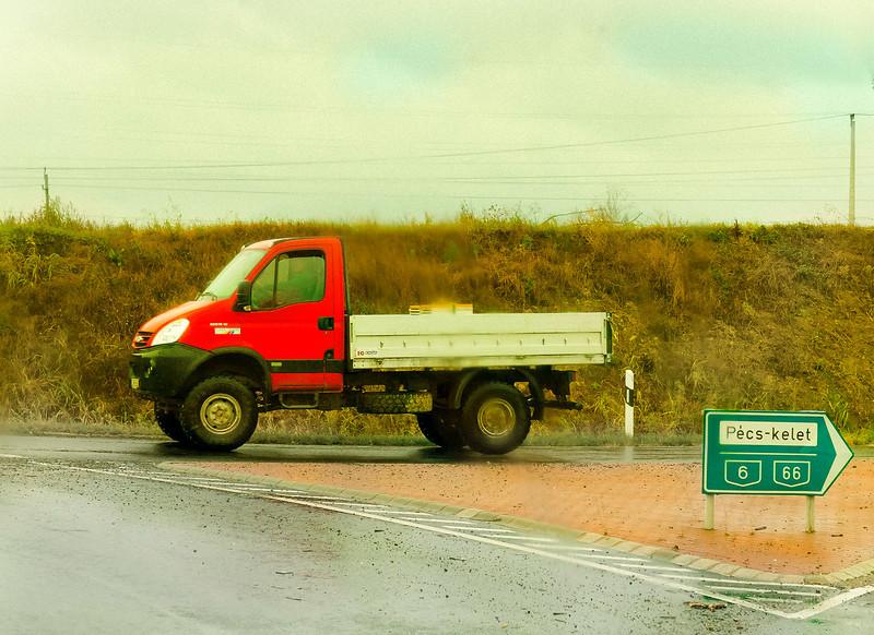 Rain, Red Truck, near Pecs, Hungary