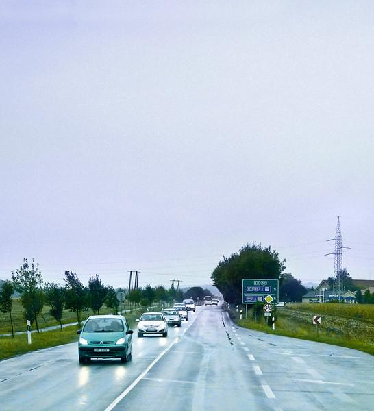 Rain, Line of Cars, near Pecs, Hungary