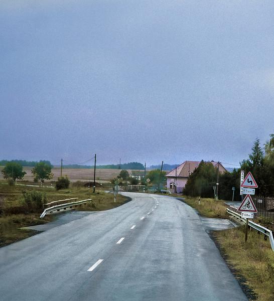 Rain, Empty Road, near Pecs, Hungary