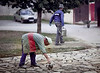 Paving the Patio, Monastery, Novi Sad, Serbia