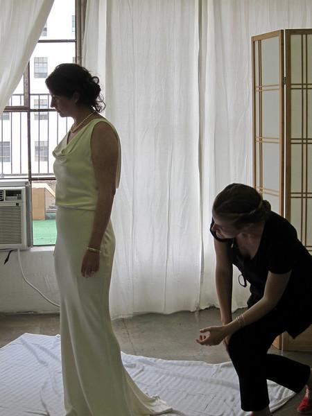 Danya picks up wedding dress, Aug 2010
