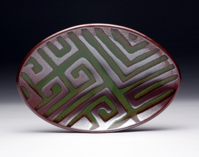 """Labyrinth Platter<br /> Daphne's Oval Platters come in three sizes:<br /> 8x12"""", 10x13"""" & 11x16"""""""
