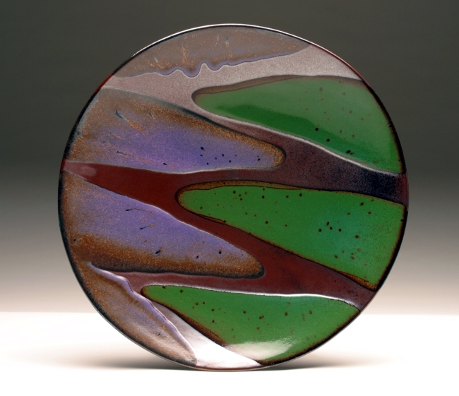 "Boundaries Platter, Green & Purple<br /> Daphne's platters are available in four sizes:  7-8"", 11-12"", 15"" and 18-20""."