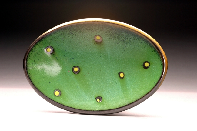 """Green Spotted Oval Platter<br /> Daphne's Oval Platters come in three sizes:<br /> 8x12"""", 10x13"""" & 11x16"""""""