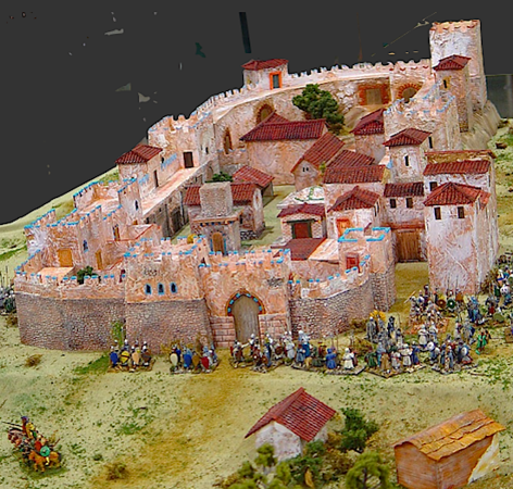 castle with soldiers