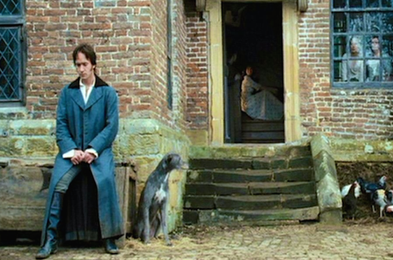 Waiting nervously for Mr. Bennet's permission.