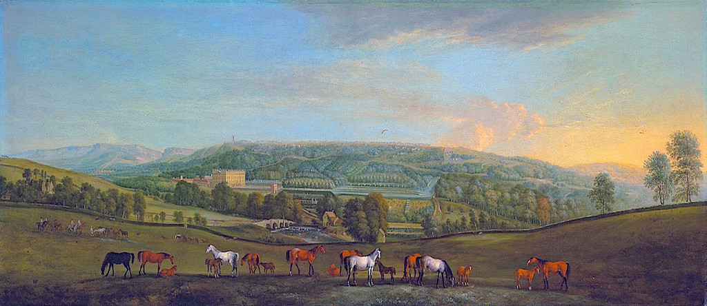 Panoramic view of Pemberley with roaming horses.