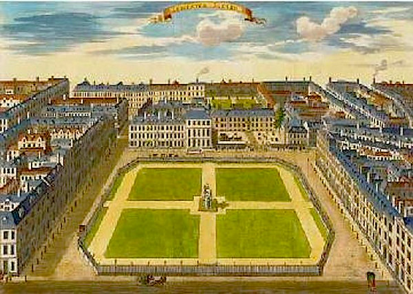 Aerial view of Grosvenor Square in London