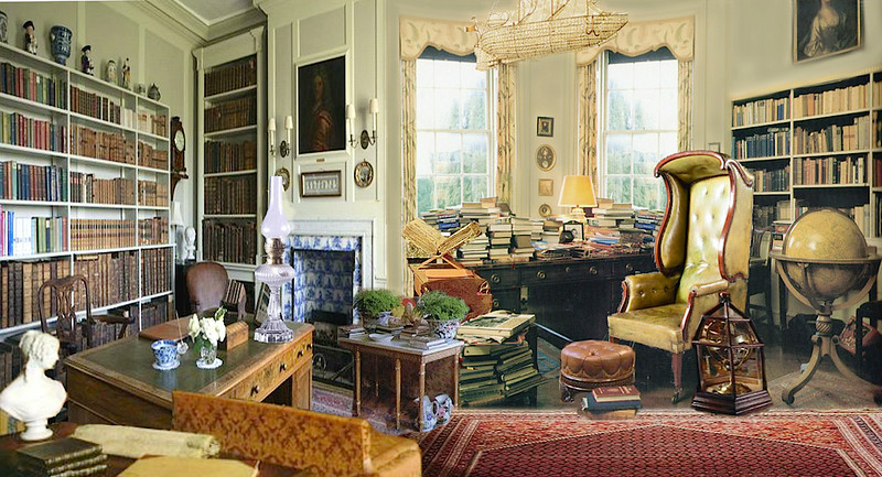 Mr. Bennet's cluttered library