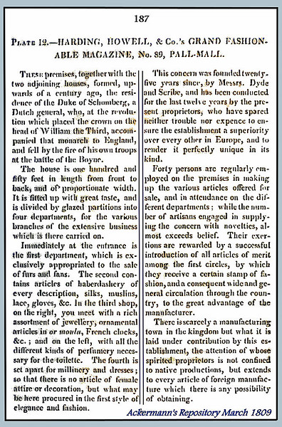 March 1809 article in Ackermann's Repository describing Harding, Howell, & Co.
