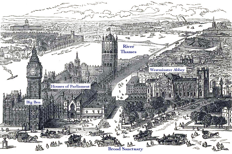 Layout of Westminster Abbey and Parliament buildings
