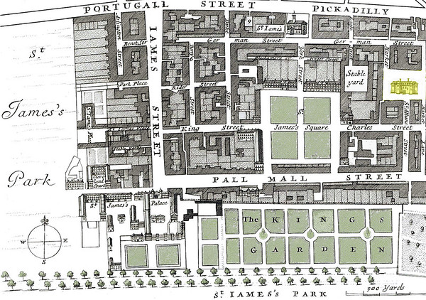 Map of London streets surrounding St. James' Palace