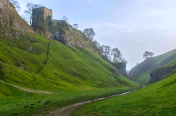 Peveril Castle on the bluffs