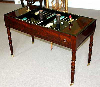 tric-trac gaming table (19th c. French) ...