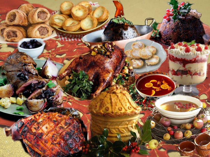 assorted traditional English Christmas dishes