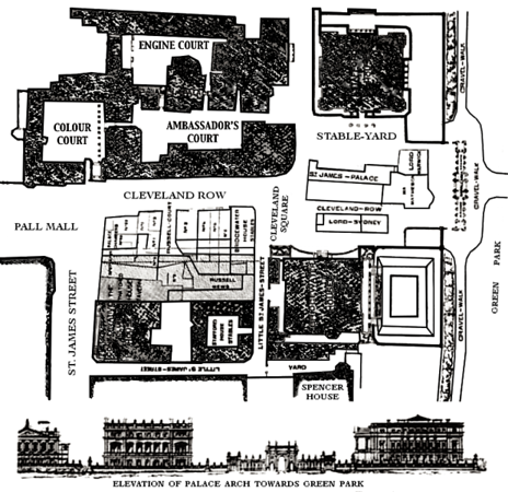 palace elevation and layout in 1850