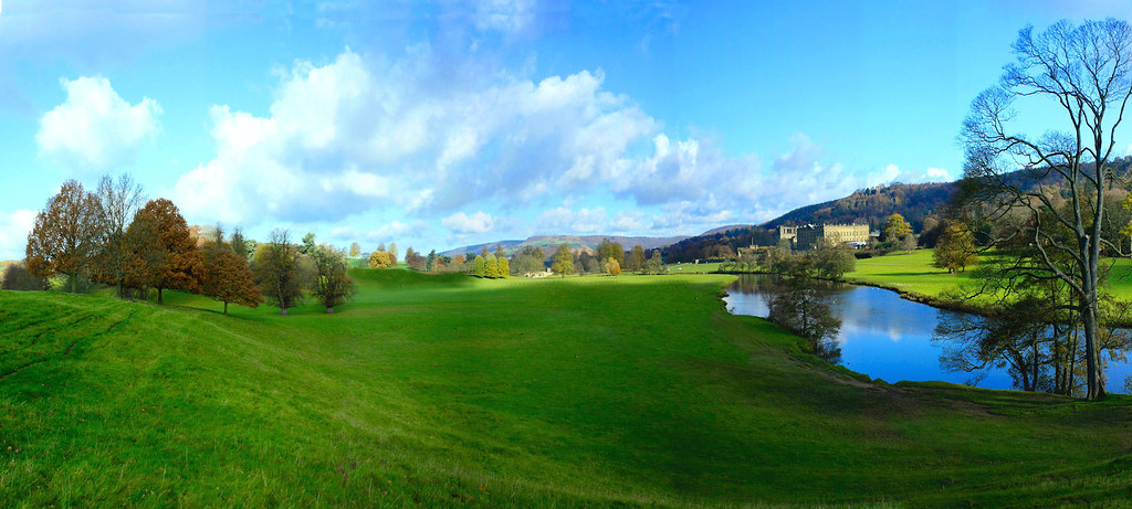 panoramic view of River Derwent & Pemberley from the southwest