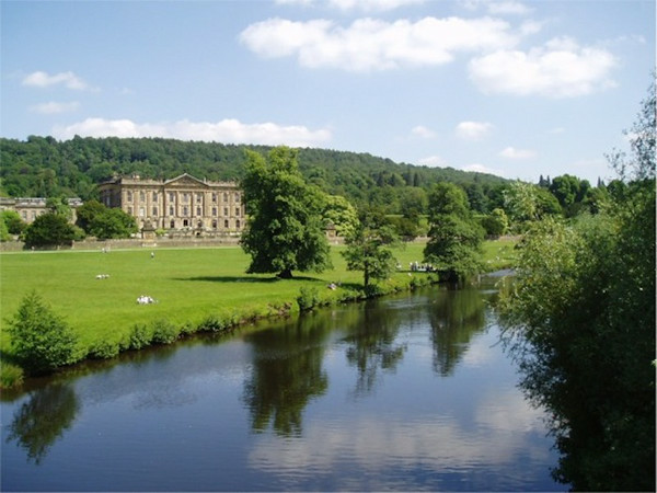 Pemberley and River Derwent from the northwest