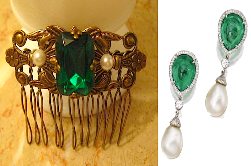 Emerald & pearl haircomb (gift #2)