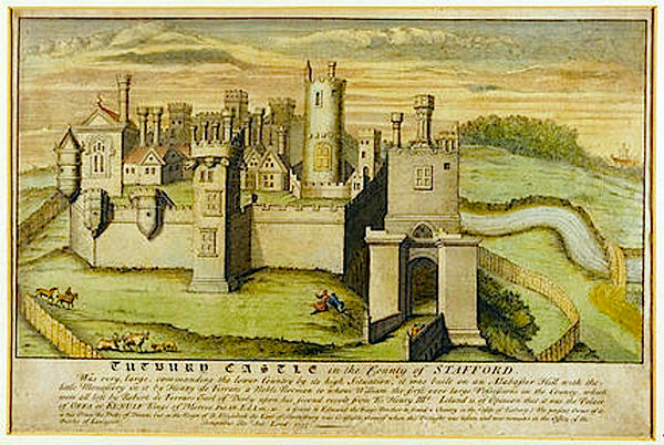 drawing of Tutbury Castle when intact